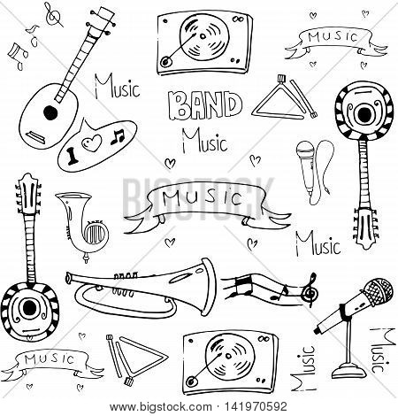 Doodle of stock vector music theme hand draw