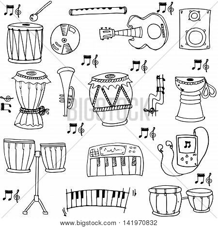 Hand draw stock music doodles vector art illustration