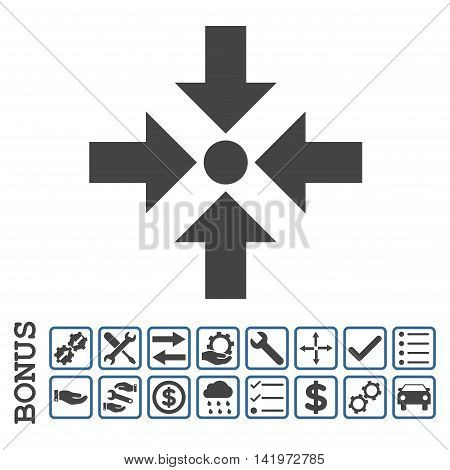 Shrink Arrows icon with bonus pictograms. Vector style is flat iconic symbol, cobalt and gray colors, white background. Bonus style is bicolor square rounded frames with symbols inside.