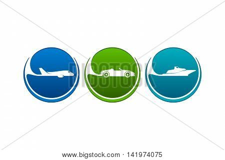 Colorful vehicles icons as airline highway seaway.