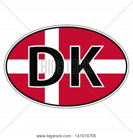 Sticker on car flag of Denmark with the inscription DK vector for print or website design for language buttons