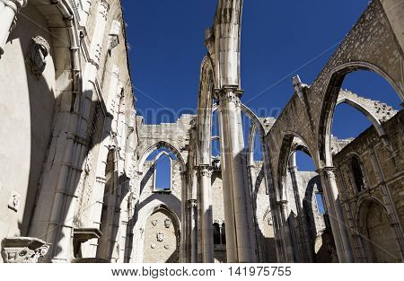 Detail of the ruins of the Convent of Our Lady of Mount Carmel (the Carmo Convent) a medieval convent destroyed by 1755 Lisbon earthquake in Lisbon Portugal