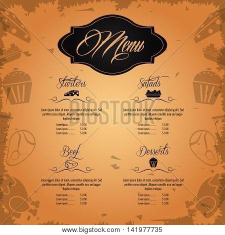 starters salads beef dessert beverage menu restaurant kitchen icon. Colorfull illustration Grunge background. Vector graphic