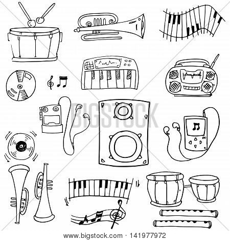 Doodle of object music pack vector art stock collection