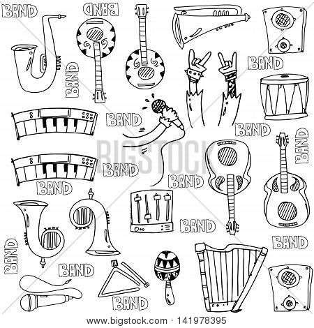 Hand draw object music doodles stock collection vector art