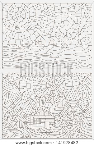 Set contour illustrations of stained glass Windows landscape lonely house on a background of nature
