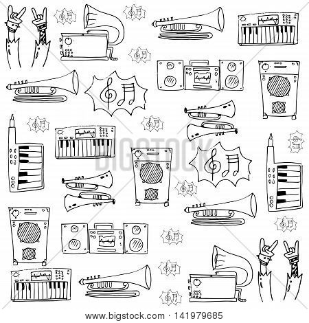 Doodle of object music stock collection vectoor illustration