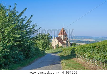 the famous Church called Kreuzkapelle in Gau-Bickelheim,Rhinehessen,Rhineland-Palatinate,Germany
