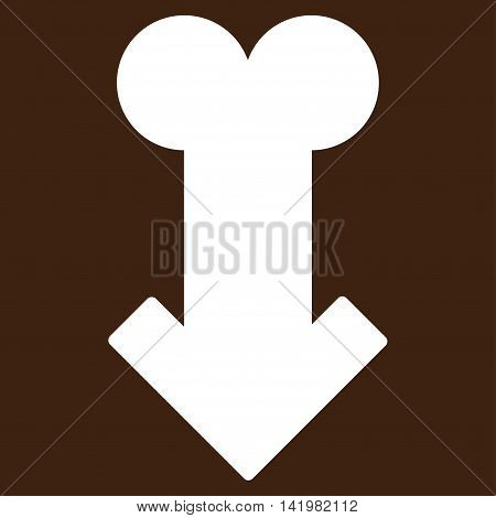 Male Sexual Disfunction vector icon. Style is flat symbol, white color, rounded angles, brown background.
