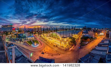 Bangkok central train station (100 year anniversary Hua Lamphong Railway Station) This is the main railway station in Bangkok located in the center of Bangkok.