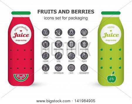Bottle of juice, sugar water, tea or cocktail with drawing watermelon and apple. Isolated on the white background. Concept design for juice or cocktail. Product packaging mockup.