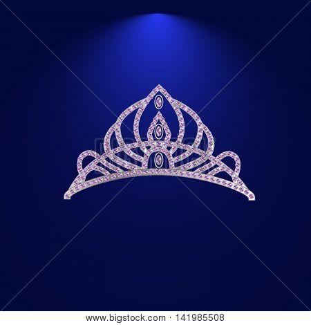 diadem corona feminine wedding with light stone