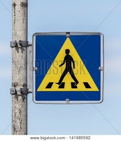 Vintage Pedestrian Transit Traffic Sign In Iceland
