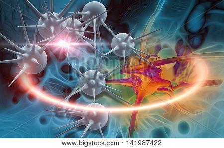 Digital 3D  Illustration Of  Cancer Cells In Human Body