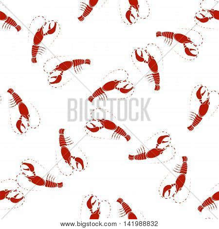 Sea Food Background. Red Omar Seamless Pattern