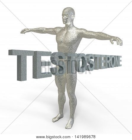 3D Render Of Words Testosterone And 3D Model Of Man