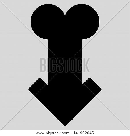 Male Sexual Disfunction vector icon. Style is flat symbol, black color, rounded angles, light gray background.
