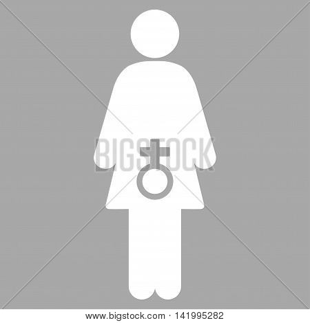 Female Sexual Disfunction vector icon. Style is flat symbol, white color, rounded angles, silver background.