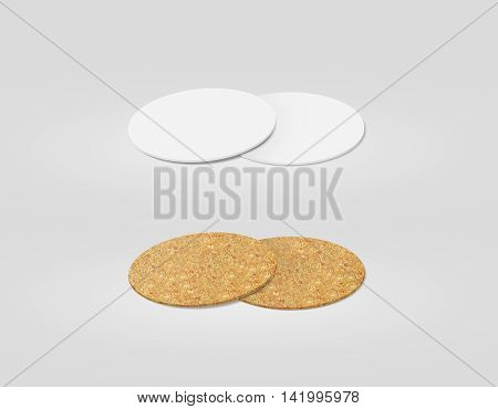 Stack of blank white and cork textured beer coasters mockup clipping path 3d illustration. Round clear mug mat design mock up. Circle cup rug display 2 side set. Bottle plain coaster
