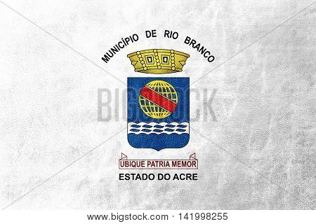 Flag Of Rio Branco, Acre, Brazil, Painted On Leather Texture
