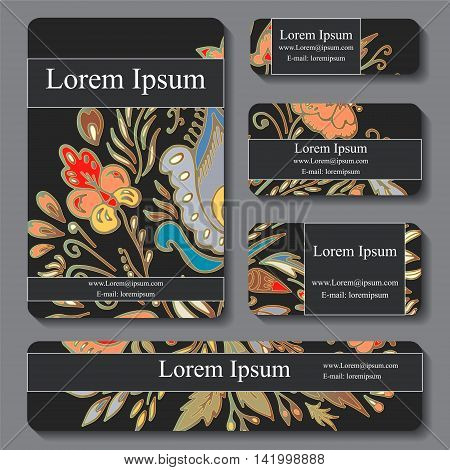 Stock vectorset of template with floral ornament oriental design for card banner cover layout.