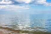 waterfront of Azov Sea Temryuk bay Golubitskaya resort Taman peninsula Kuban Russia poster