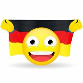 Emoji fan holds in hands flag behind his head. German flag. Fan cares for his country. Glory spectator bawl emotion. Exult emoticon. Buff of sports games smile vector illustration. poster