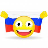 Emoji fan holds in hands flag behind his head. Russian flag. Fan cares for his country. Glory spectator bawl emotion. Exult emoticon. Buff of sports games smile vector illustration. poster