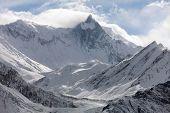 Mount Khangsar Kang (Roc Noir) Annapurna range from Ice Lake way to Thorung La pass Round Annapurna circuit trekking trail Nepal poster