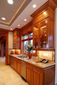 Kitchen Cabinet in a large american home poster