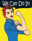 We Can Do It. Cool vector iconic woman's fist symbol of female power and industry. cartoon woman with can do attitude. Isolated lineart eps 10. poster