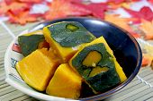 Pumpkin simmered in soup stock of bonito and kelp. poster