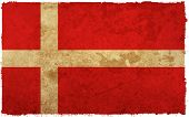 flag of denmark - old and worn paper style poster