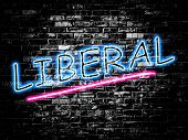 Liberal sign on old black vintage brick wall background poster