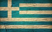 wood flag of greece poster
