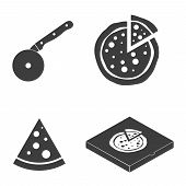 Pizza vector icons food silhouette collection. Cutter knife cooking equipment, pizza slice icon in flat style. Black pizza box isolated on white background poster