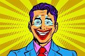 Clown smile joker face pop art retro vector illustration. Human emotions poster