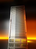 3D rendered Illustration. Image of a server tower. poster