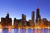 Image of Chicago downtown skyline at dusk. poster