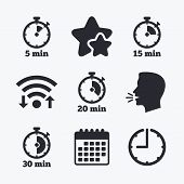 Timer icons. 5, 15, 20 and 30 minutes stopwatch symbols. Wifi internet, favorite stars, calendar and clock. Talking head. Vector poster