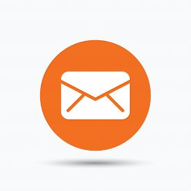 Envelope icon. Send email message sign. Internet mailing symbol. Orange circle button with flat web icon. Vector