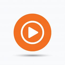 Play icon. Audio or Video player symbol. Orange circle button with flat web icon. Vector