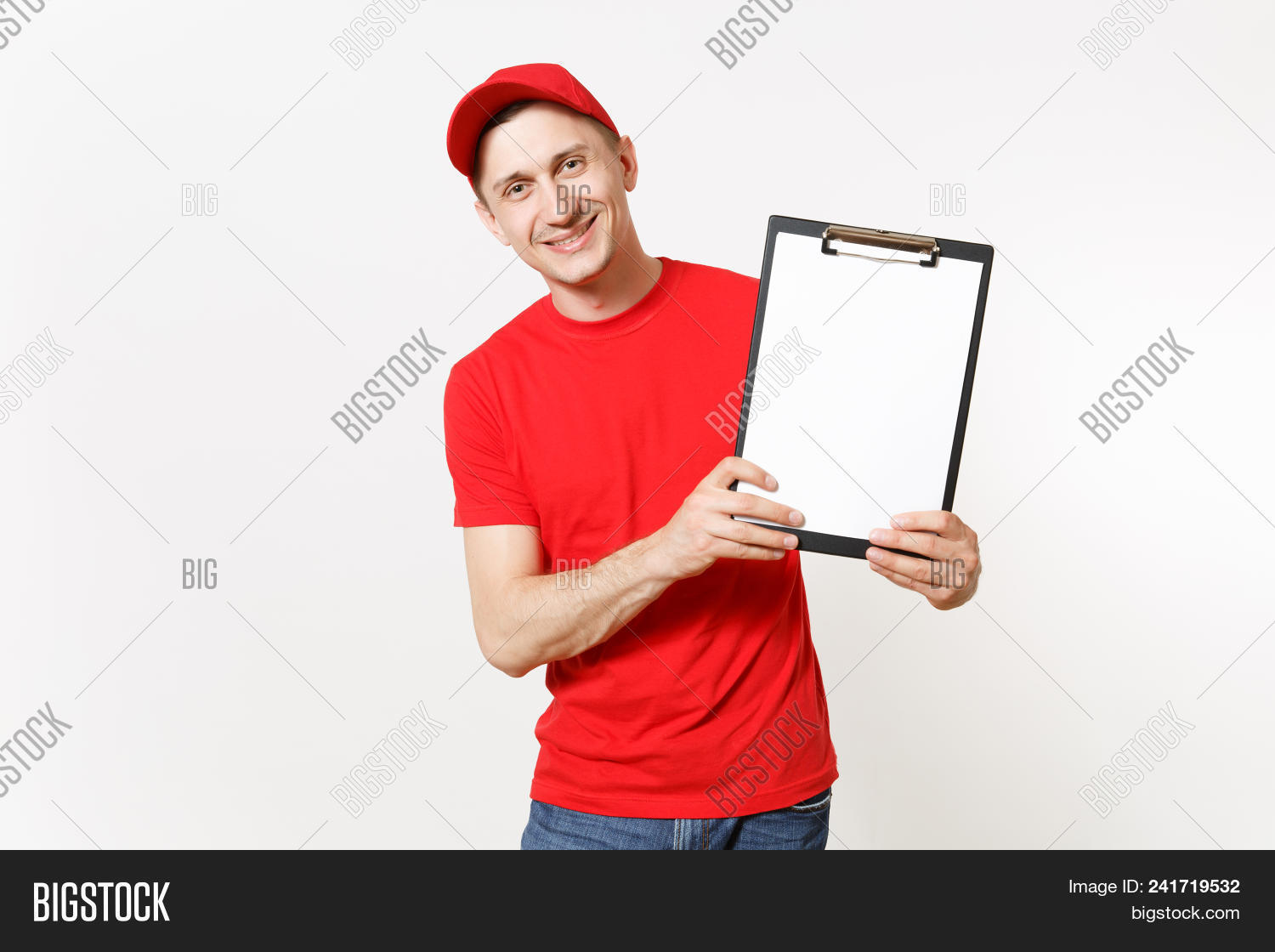 556d91b5 Delivery man in red uniform isolated on white background. Male in cap, t- shirt, jeans working as courier or dealer, holding pen, clipboard with  papers ...