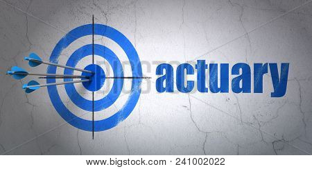 Success Insurance Concept: Arrows Hitting The Center Of Target, Blue Actuary On Wall Background, 3d