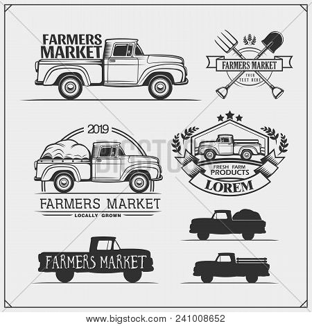 Set Of Farmers Market Emblems, Badges And Labels With Pickup. Vector Illustration.