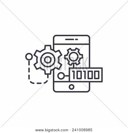 Binary Mobile Code Line Icon, Vector Illustration. Binary Mobile Code Linear Concept Sign.