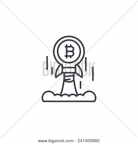 Bitcoin Launch Line Icon, Vector Illustration. Bitcoin Launch Linear Concept Sign.
