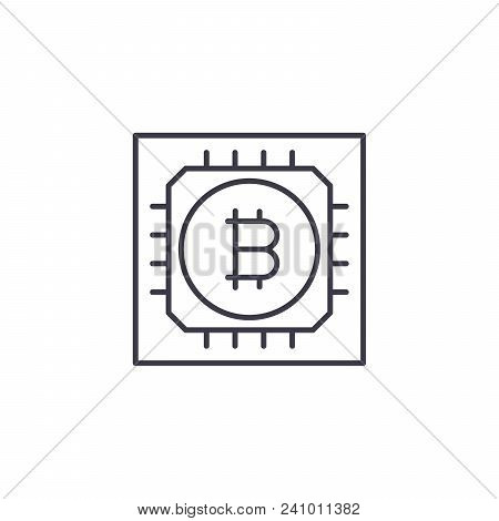 Blockchain Technology Line Icon, Vector Illustration. Blockchain Technology Linear Concept Sign.