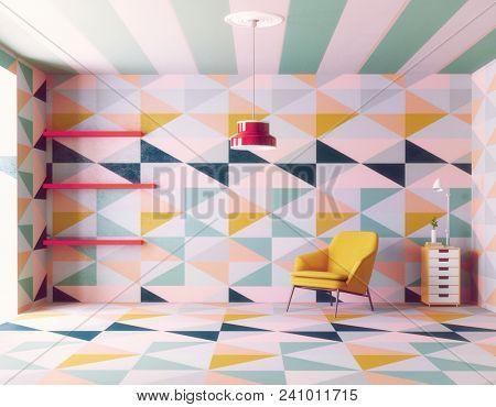 color geometric pattern interior. 3d creative design