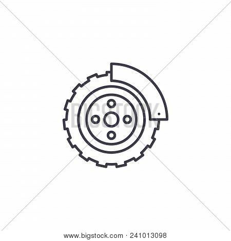 Brake System Line Icon, Vector Illustration. Brake System Linear Concept Sign.